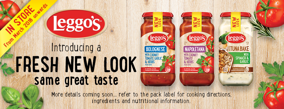 Leggos Fresh New Look Same Great Taste Banner