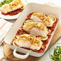 Baked Fish With Lemon  Almond Topping