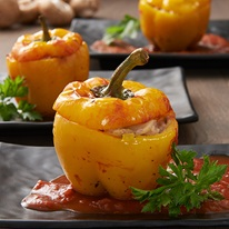 Mushroom Stuffed Capsicums With Sugo