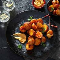 Roasted Chats With Tomato Aioli