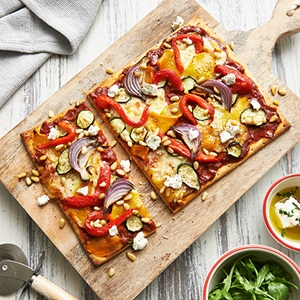 Roasted Vegetable And Goats Cheese Pizza