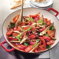 Warm Eggplant Tomato  Red Onion Salad